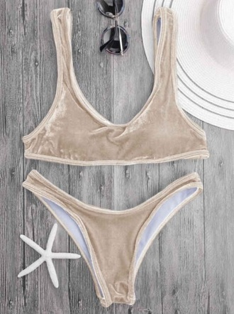 swimwear girly bikini bikini top bikini bottoms two-piece velvet