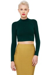 sweater,cropped sweater,long sleeve crop top,green sweater
