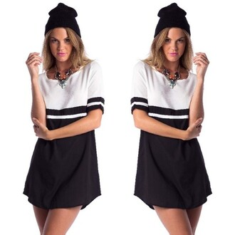 dress jewels hat shift black & white dress