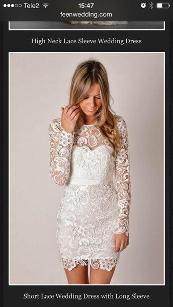 dress white short lace weddingdress