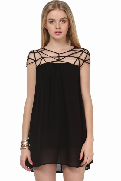 KCLOTH Black Girl Cut Out Shift Chiffon Mini Party Dress