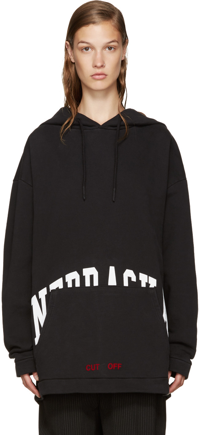Off white Co Virgil Abloh Black Champion Edition Logo Hoodie For Men Lyst from OFFWHITE X CHAMPION on 21 Buttons