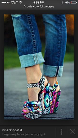 shoes high heels wedges aztec jeans platform shoes