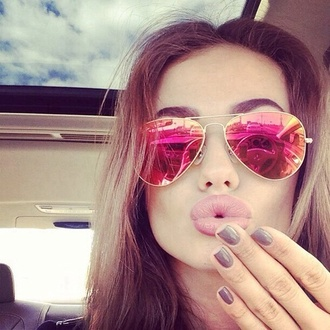 sunglasses rayban glasses summer style fashion hot pink cute dress outfits pretty hipster peace sign summer outfits aviator sunglasses