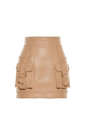 skirt mini skirt mini leather beige