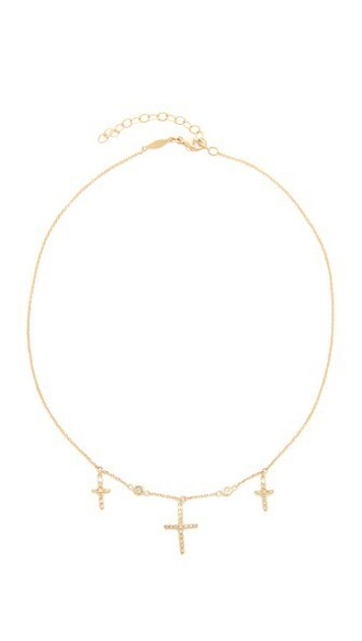 cross triple necklace choker necklace gold jewels