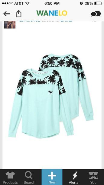 shirt cute shirts pink pink shirt blue shirt palm tree print shirt blue cute t-shirt with print sweater pink by victorias secret