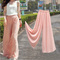 Free pink sweet chiffon high waist wide leg pants long loose culottes trousers