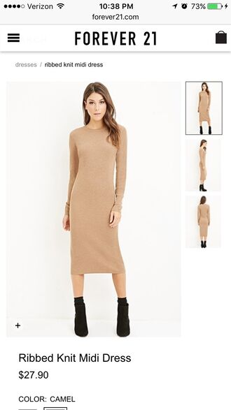 dress midi dress bodycon dress nude beige tan long sleeves forever 21 high neck