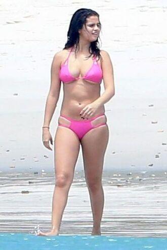 swimwear selena gomez pink bikini bikini top bikini bottoms summer beach