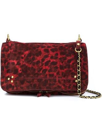bag shoulder bag print leopard print red