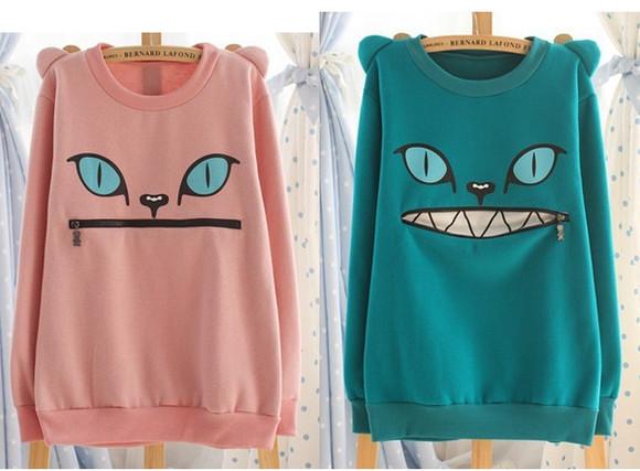 sweater cats cat zipper