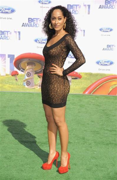dress tracee ellis ross sheer black dress longsleeve