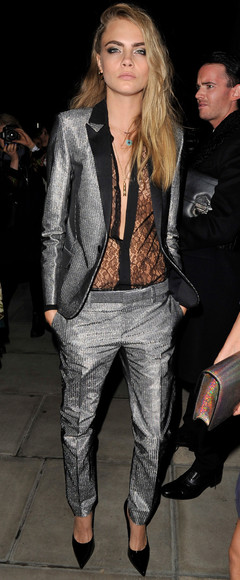 silver metallic pants woman's clothing cara delevingne blazer trousers