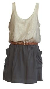 dress,cream,cream top,lace,waist belt,grey dress,lace top dress,blouse,belt,navy,skirt,shirt,country