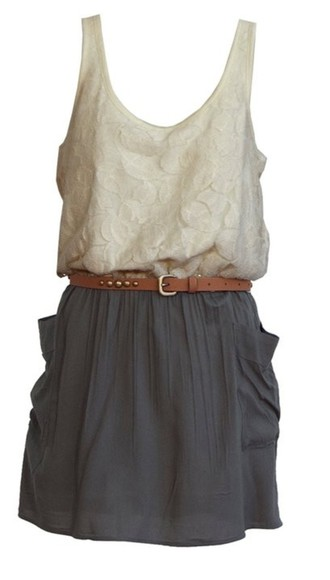 dress lace lace top dress cream cream top waist belt gray dress