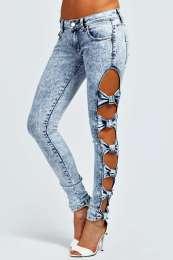 Lorraine Bow Side Skinny Snow Wash Jeans