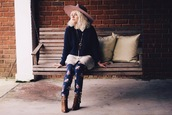 styles by hannah riles,blogger,hat,printed pants,navy,brown leather boots,pullover,pendant,sweater,shirt,pants,shoes,jewels