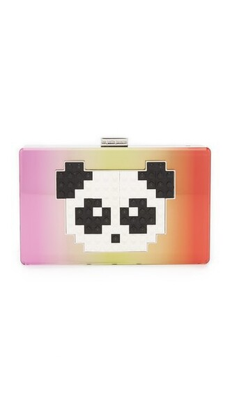 panda iridescent clutch bag