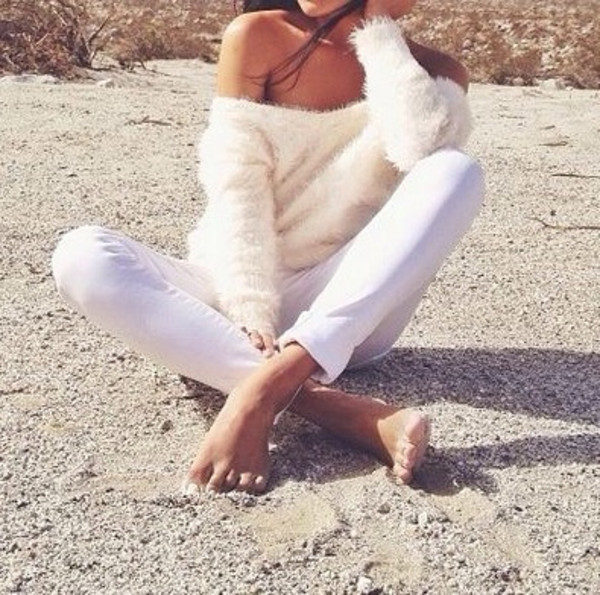 sweater oversized white sweater fuzzy sweater