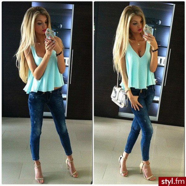 blouse fashion style jeans high heels bag purse