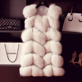 coat jacket chanel chanel style jacket white winter outfits gorgeous fur faux fur real fur silver fox trendy women sunglasses scarf vest blogger fur vest cardigan super nice blouse