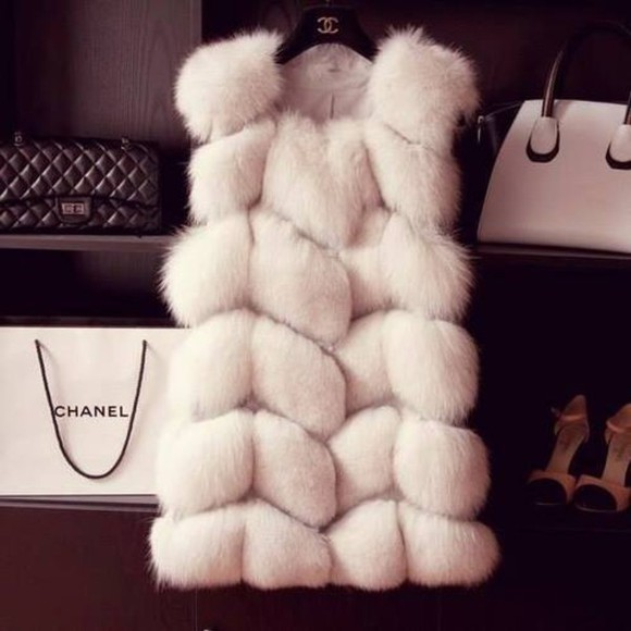 jacket fur chanel vest blogger coat chanel style jacket white winter outfits gorgeous wantitnow fake fur real fur silver fox