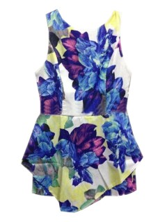 Floral round neck sleeveless floral slim jumpsuit