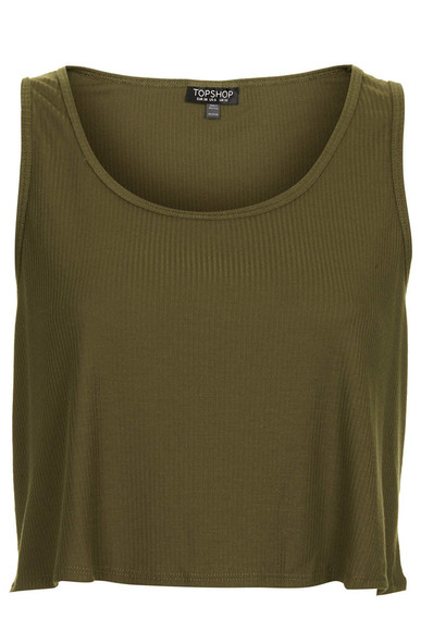 khaki vest tank top rib swing crop vest tee top