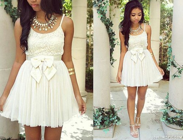 dress white lace lace dress cute bow