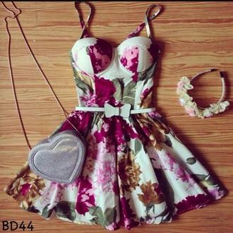 dress bustier dress floral dress
