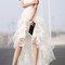 White floral print gauze panel multi layer sleeveless hi-lo dress