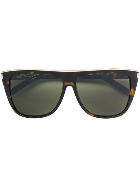 Saint Laurent Eyewear - Combi SL 1 sunglasses - women - Acetate/metal - 59, Brown, Acetate/metal