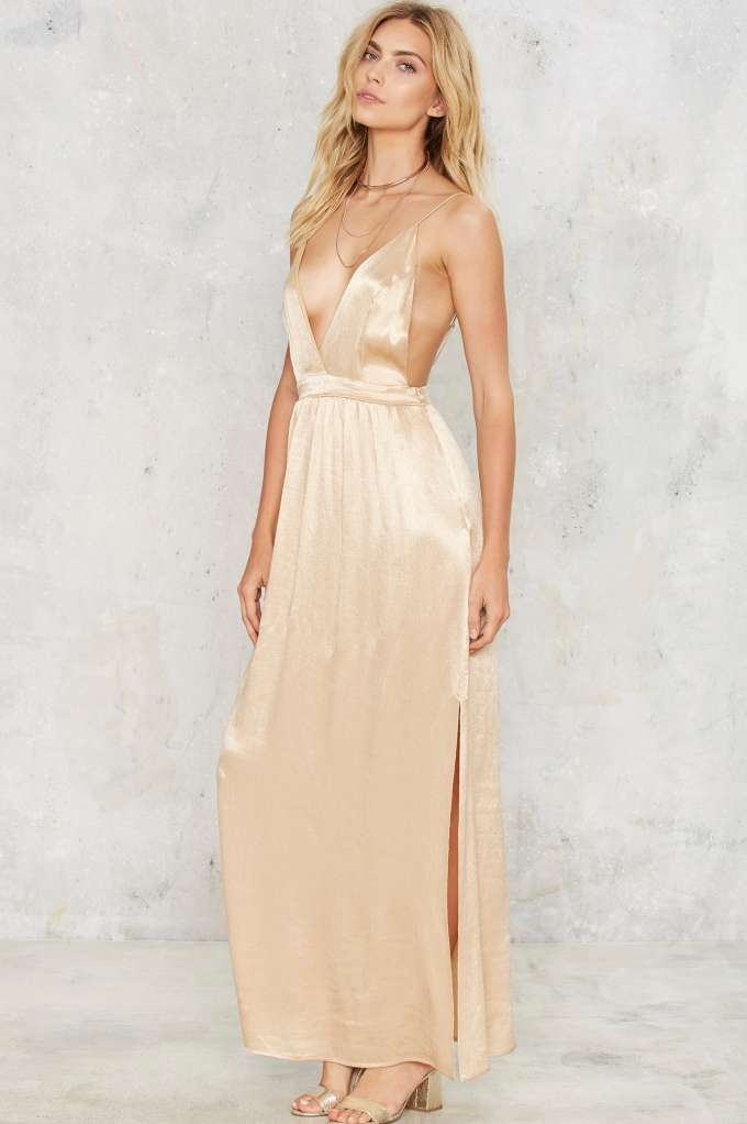 Party by Nasty Gal Rush Satin Maxi Dress