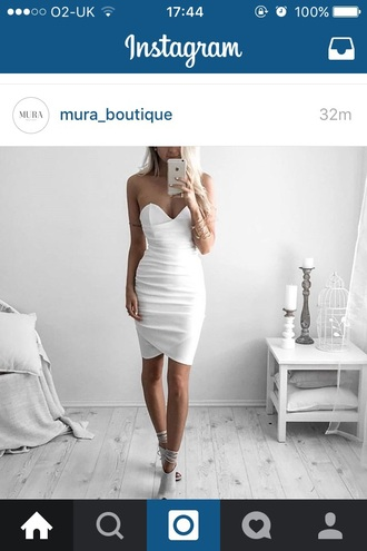 dress white white dress bodycon dress strapless