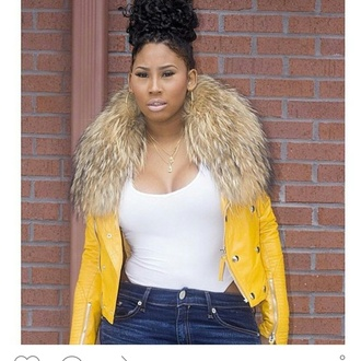 pascale msblingmiami jacket biker jacket motorcycle jacket ming lee jai nice yellow fall jacket fall outfits 2015 fall fashion fall fashoin fall coat fur fur stole stole fur trim hood lambskin leather racoon fur lambskin