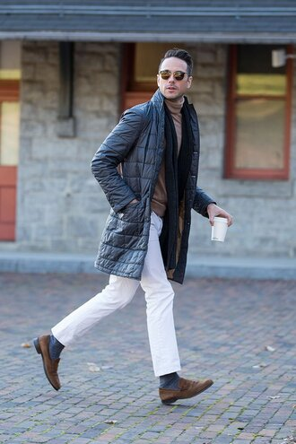 he spoke style blogger mens coat menswear mens pants jeans sunglasses scarf jewels shoes mens knitted scarf