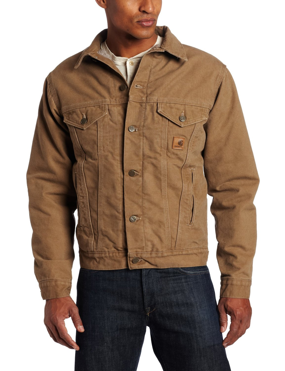 Amazon.com: Carhartt Men's Big-Tall Sandstone Duck Jean Jacket with Sherpa Lining: Denim Jackets: Clothing