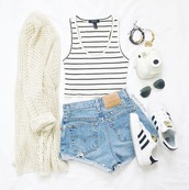 cardigan,beige,white,white top,white crop tops,tank top,stripes,shorts,blue shorts,adidas,shoes,sunglasses,ootd,tumblr ootd,outfit,outfit idea,fall outfits,tumblr outfit,summer outfits,cute outfits,spring outfits,summer,indie,hipster,hippie,hippie chic,boho,boho chic,tumblr,tumblr clothes,instagram,cute,pretty,crop tops