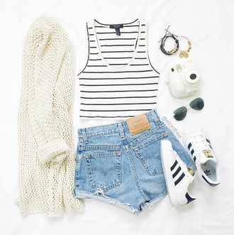 cardigan beige white white top white crop tops tank top stripes shorts blue shorts adidas shoes sunglasses ootd tumblr ootd outfit outfit idea fall outfits tumblr outfit summer outfits cute outfits spring outfits summer indie hipster hippie hippie chic boho boho chic tumblr tumblr clothes instagram cute pretty crop tops