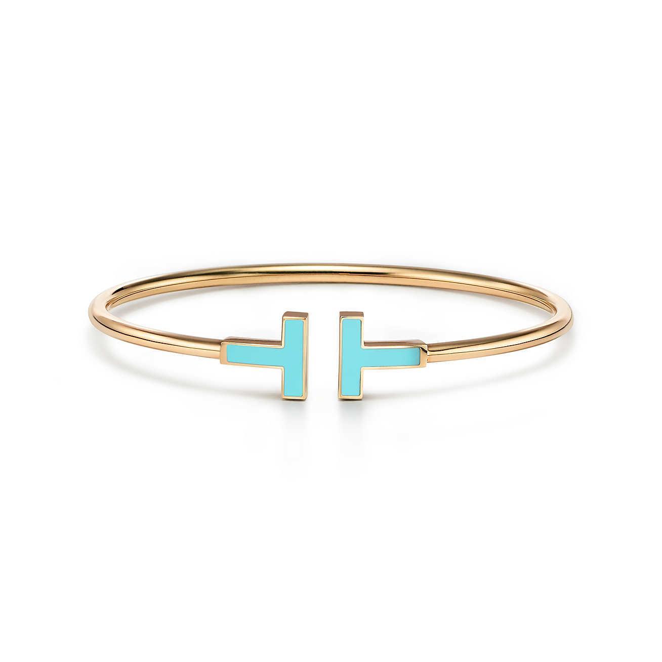 Tiffany T turquoise wire bracelet in 18k gold, medium