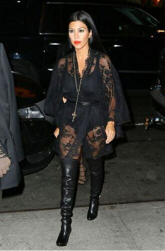 dress lace dress lace all black everything black kourtney kardashian boots
