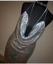 dress,kendall birthday dress,new years outfit,birthday dress,kendall and kylie,sequin dress,sequins,silver,silver sequin dress,mini dress,open back,gold choker,choker necklace,party dress,party,party outfits,outfit,outfit idea,sleeveless,new year's eve,tumblr outfit,cute dress,cute outfits