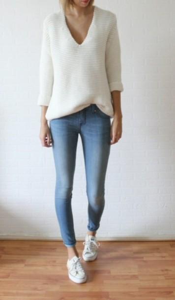 sweater jumper white sweater low cut jens converse white blue warm jumper winter outfits v neck v neck pants shoes jeans acid wash denim