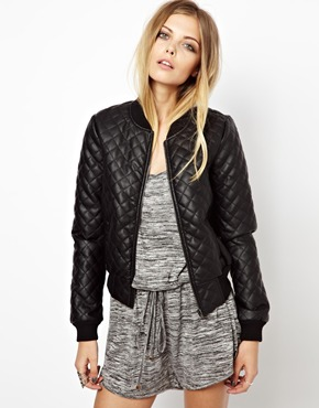 May | Noisy May Faux Leather Quilted Bomber Jacket at ASOS