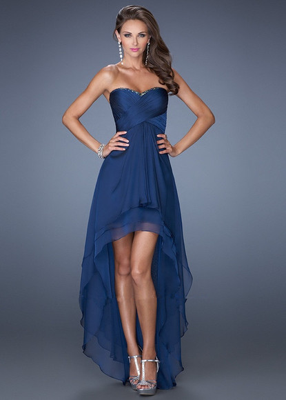 prom dress navy dress high-low dresses prom dresses high low