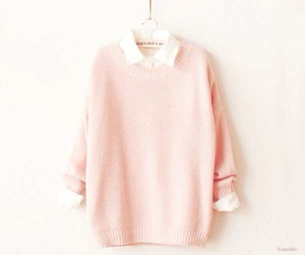 Sweater: pink, white, oversized sweater, shirt, cute, jumper ...
