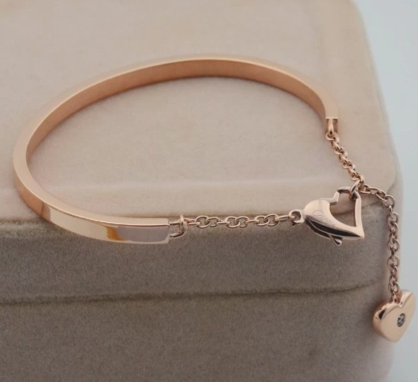 Luxurious heart inlaid crystal rose gold plate bangle bracelets for wedding