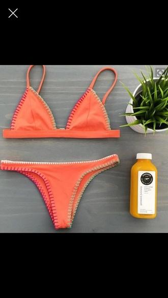 swimwear orange beach bikini top bottom