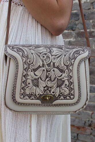 bag western texture beige bag shoulder bag leather bag floral bag floral michael kors bag